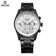 MEGIR Men Full Steel Watches Multifunction Military Watch Chronograph Water Resistant Function Watch Watch Relogio Masculino