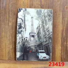 Eiffel Tower street scene blue car 5419 Wall Stickers Decor Iron Retro Tin Metal Signs Plaques 20*30cm(China)