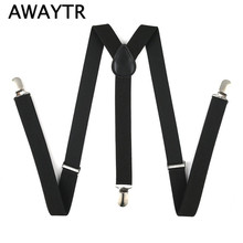 2017 Braces Men Suspenders for Women Jeans Pants Trouser with Clip-on Braces Elastic Suspenders Black White Clothing Accessories(China)