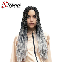 Xtrend 24inch Ombre Kanekalon Braiding Hair Extensions Synthetic Jumbo Braids Crochet Hair Bulk For Women Green Blue Grey(China)