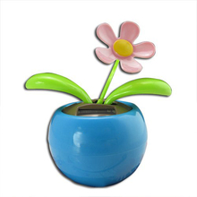 Blue Magic Cute Flip Flap Swing Dancing Solar Powered Flower Toys(China)