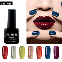 Sarness 8ml Glitter Nail Gel Polish Fluorescent Neon Nail Polish LED UV Saok Off Luminous Gel Varnish Top Base Coat