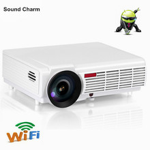 Drop shipping Brightest 5500Lumesn LED LCD home cinema Projector with built in Android 4.4 system TV 3D Full HD Projectors(China)