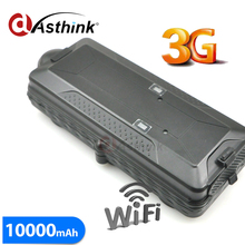 3G WCDMA GPS car Tracker GPS+GSM+WIFI positioning with SD card slot 10000mAh battery TK10G(China)