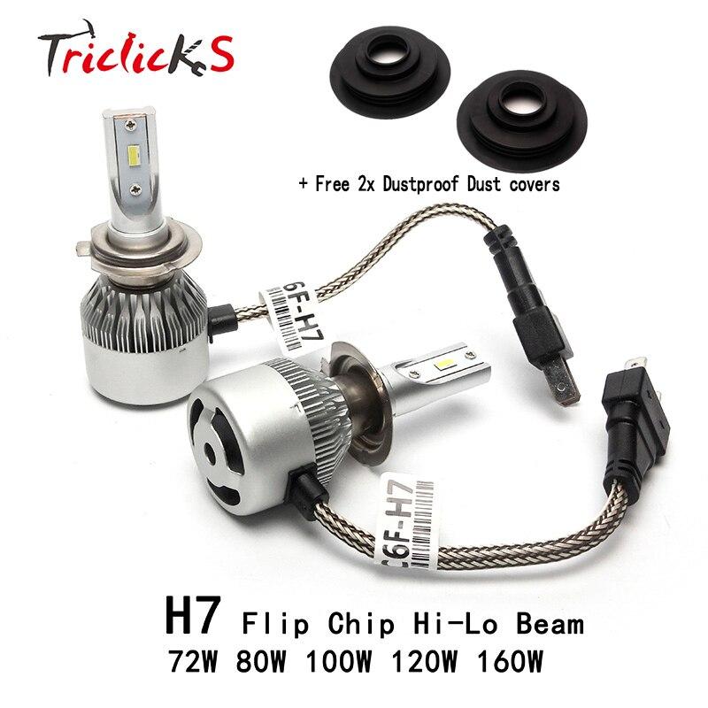 Triclicks H7 Hi/Lo 6000K Flip Chip LED Headlight Bulbs+Free 2x Dustproof Dust Covers For Chrysler Dodge Citroen Fiat Peugeot VW<br>