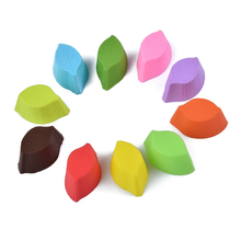 10 Pcs Creative Silicone Muffin Cup Leaves Mold Cake Baking Mold DIY Kitchen Pastry Tools Fancy Cupcake Decoration Mould(China)