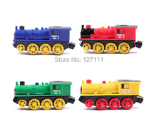 Four wheel drive magnetic electric train locomotive High-powered compatible wooden train tracks set kids toys 1pcs(China)