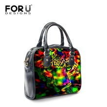 FORUDESIGNS Funny Printing Animal Leopard Tote Handbag for Women Soft PU Leather Shoulder Bags Neon Ladies Crossbody Bags