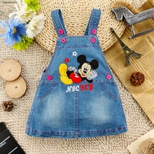 1.5-4Y 18M 2 3 4 ages High fashion dress 2015 baby girl mini mouse dress cute denim dress gilrs clothing wholesale D004