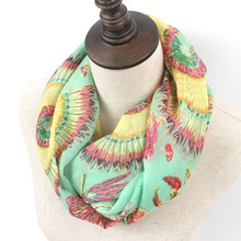 New Female Stripe Dot Ring Scarf Fashion Woman Autumn Lavender Silk Infinity Scarves Nice Spring Chevron Print Loop Shawl(China)