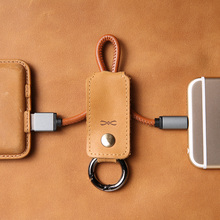 Leather Double Ring USB Cable Data Sync Fast Charging Charger Cord Apple Lightning Micro Type-c Mobile Phone - dpark Official Store store