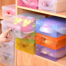 1PC Clear Transparent Drawer Case Plastic Shoe Boxes Storage Organizer Stackable Box(China)