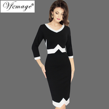 Vfemage Women Autumn Elegant 3/4 Sleeves Geometric Patchwork Contrast Slim Business Work Office Party Bodycon Pencil Dress 7922(China)