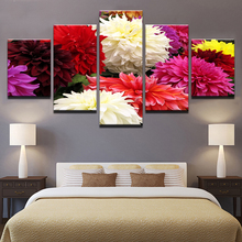 Canvas Pictures Frame HD Prints Wall Art Home Decor Living Room 5 Pieces Colorful Flowers Bloom Paintings Dahlia Pinnata Poster(China)