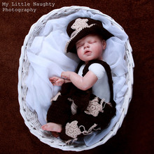 Newborn baby cowboy  studio costume photography props Crochet knitting high quality 3pcs  set pattern star hat+diaper+suspender
