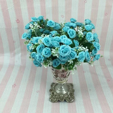 1 Bouquet 15 Heads Artifical Plastic Rose Silk Flower Colorful Fake Silk Rose For Wedding Office Home Decors