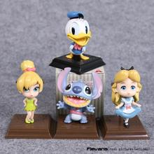 Anime Cartoon Donald Duck Stitch Alice in Wonderland Tinker Bell Happiness Moment PVC Figures Toys Dolls 4pcs/set
