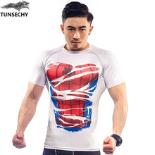 New 2017 TUNSECHY Brand Red spider man/captain America, hulk/iron man 3 d printing cartoon man tight short sleeve T-shirt top(China)