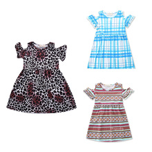 2017 Little Girl Stripes Leopard Princess Party Pageant Dresses Toddler Kids Baby Girls Geometrical Pattern Dress Clothes(China)