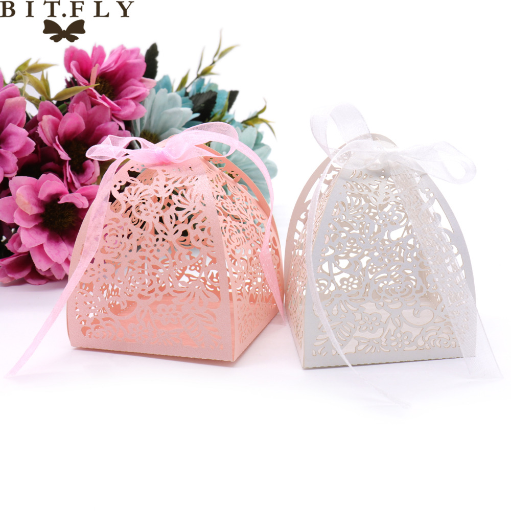 Event Party Gift Boxes Bags Candy Box Laser Cutting Lace Flowers ...