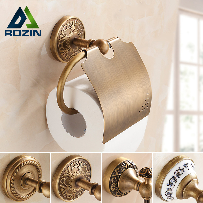 Free Shipping Wholesale and Retail Wall Mounted Toilet  Paper Holders Antique Brass Creative Bathroom Roll Paper Rack Rod<br>