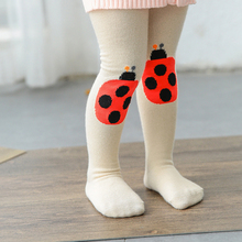 baby cotton tights pantyhose girls warm tight for newborn infant Toddler baby boy stockings white cartoon fox cat ladybug design(China)