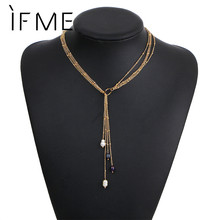 IF ME Simulated Pearl Pendents Long Chain Necklaces Multilayer Tassel Fashion Design Necklace Gold Color Jewelry Women Bijoux