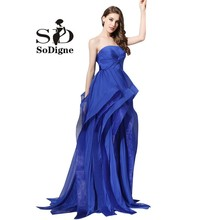 Evening Dress 2017 SoDigne Vestidos De Formatura Azul Hot Sale Royal Blue Prom Dresses Fancy Party Gown Gala Dresses Ruffles(China)