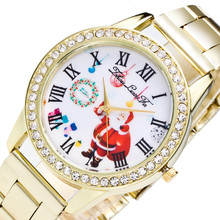 2017 Hot Sale Christmas Santa Snowman Watches Women Clock Top Brand Luxury Stainless Steel Chronograph Gold Watches Montre Femme(China)