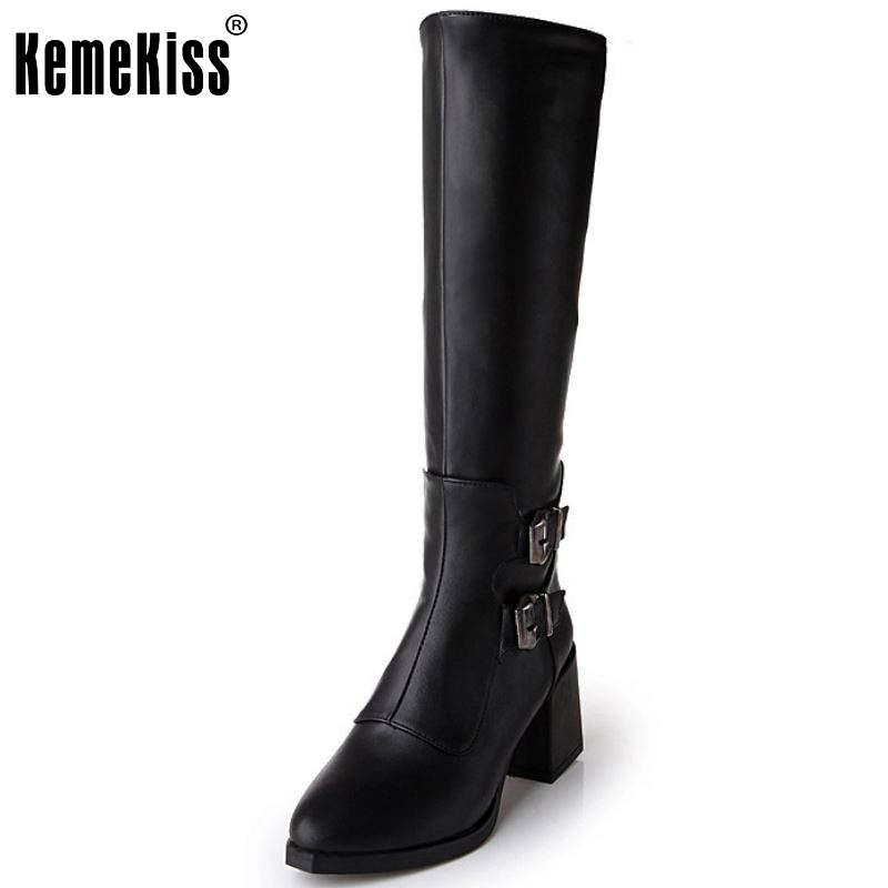 Women Flat Knee Boots Ladies Fashion Gladiator Warm Winter Long Boots Leisure Buckle Zipper Footwear Shoes Women Size 34-43<br>