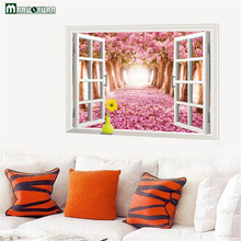 Maruoxuan Warm Romantic 3d False Window Pink Cherry Blossom Tree Landscape Wall Stickers Bedroom Decorative Art Mural Decals(China)