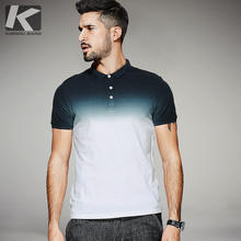 KUEGOU 2017 Summer Mens Fashion Polo Shirts Gradient White Color Brand Clothing For Man's Wear Short Sleeve Slim Fit Tops 1579