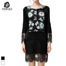 S- 5XL Women Sexy Print Spring Dresses New Floral Lace Cut Out Long Sleeved Slim Dress Ladies Boutique Big Size Clothes 2020