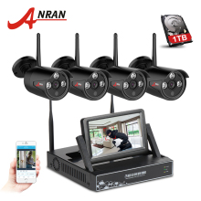 "Newest ANRAN Plug&Play 4CH Wireless Camera Surveillance System 7"" LCD NVR Kit 1TB HDD P2P 720P HD Outdoor IR WIFI CCTV IP Camera"