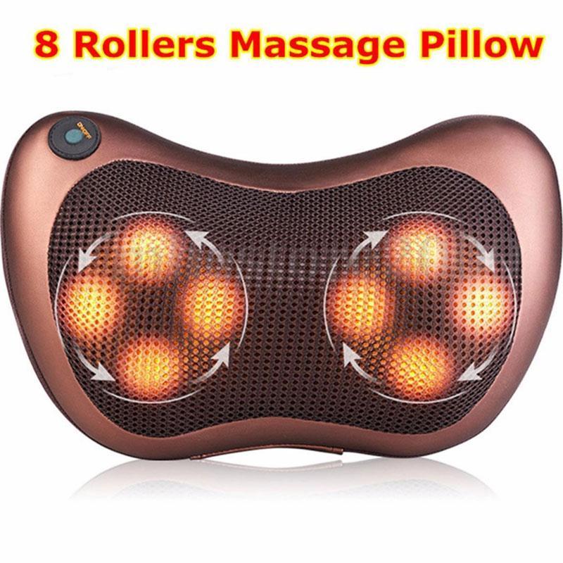 8 Heads Car Massage Pillow Electric Heating Vibrating Kneading Shoulder Massager<br>