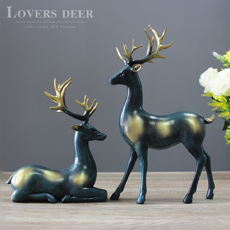 Meijswxj Resin Crafts Creative Couple deer a pair Home Decorations Deer Figurine Animal Wedding Gifts Living Room Desktop decor(China (Mainland))