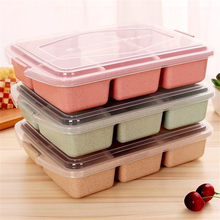 4 Grid Wheat Straw Plastic Microwave Tableware Lunch Bento Box Kids Food Storage Container Kids Lunch Boxs Dinnerware Set