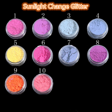 Sunlight Change Nail Glitter 12box/set Warm Discoloration Pigments Color Changed By Sunlight Change Gradient Sensitive Paints(China)