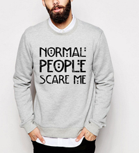 Distressed Style hoodies men funny Normal People Scare Me print sweatshirts 2017 autumn casual fleece o-neck hip-hop tracksuits