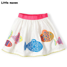 Little maven 2017 new summer baby girl clothes fish print cotton mini A-line skirt S0167(China)