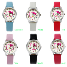 Holiday Sale New Arrival Cheap Lovely Girls Hello Kitty Women Watch Children Fashion Kids Crystal Wrist Watch For Gift(China)