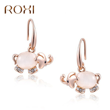 ROXI Stud Earrings Animal Jewelry Cute Elephant Shaped Opal Stud Earrings For Women Fashion Rose Gold Statement Earrings Brincos(China)