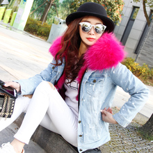 OFTBUY brand 2017 autumn winter jacket coat women Holes Denim jacket real large raccoon fur collar and faux fur thick warm Liner
