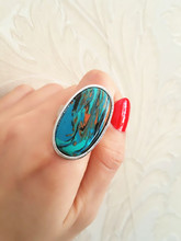 Malachite ring, the fate of stone, each of the natural texture are different, mind don't buy, jewelery gift in box ALW1561