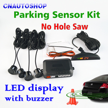 Viecar Parking Sensor Kit LED Display Car Reverse Assistance No Hole Saw Sensors 22mm 12V 8 Colors Backup Monitor System