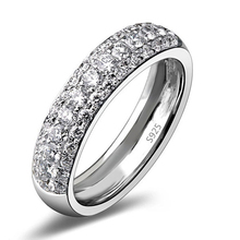 JEXXI Shiny Loop Design Fashion 925 Sterling Silver Wedding Engagement Ring Full White Cubic Zirconia Wholesale Price