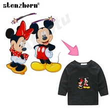 2017 NEW A Level iron-on transfers Minnie mickey mouse patches Ironing Stickers For Clothes heat transfers for clothes(China)