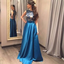 2017 Elegant Evening Dresses Long O-Neck Sleeveless Satin with Lace Evening Gown Royal Blue Party Gowns Vestidos De Festa E79