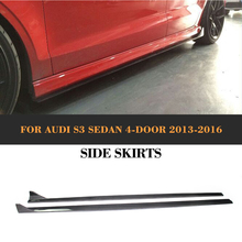 S3 Carbon Fiber car Side Skirts auto body Aprons Audi Sline Sedan 4 Door 13-16 A3 Standard JC style - JUN-CHI Official Store store