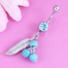 Free shipping Dream catcher Dark Blue Belly button ring Body piercing Jewelry belly naver ring Dangle 14G Surgical Steel Nickel